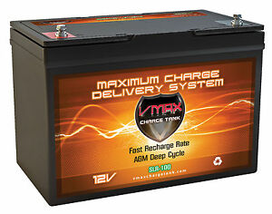 Vmax Agm Deep Cycle 12v 100ah Group 27 Battery For Ion Backup Sump Pumps