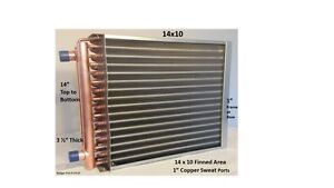 14x10 Water To Air Heat Exchanger 1 Copper Ports W Ez Install Front Flange