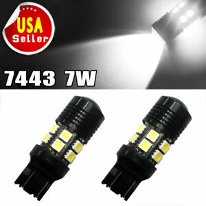 2x White 7443 7440 High Power 7w 12smd Projection Led Backup Reverse Light Bulbs