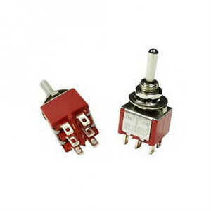 1pc Dpdt Momentary Mini Toggle Switch on off on Solder Lug Usa Seller
