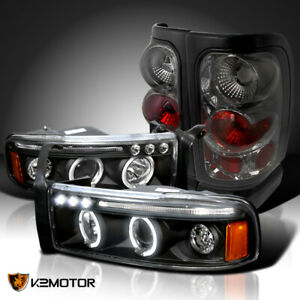 1994 2001 Dodge Ram Black Led Halo Projector Headlights Smoke Tail Brake Lamps