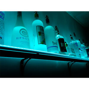 Wall Mounted Led Lighted Liquor Bottle Shelf 3 Ft Long Club Party Bar Decor