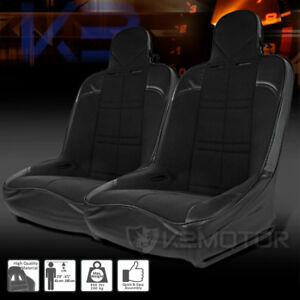Pair Black Pvc Leather Off Road Bucket Style Sport Frame Racing Seats Sliders