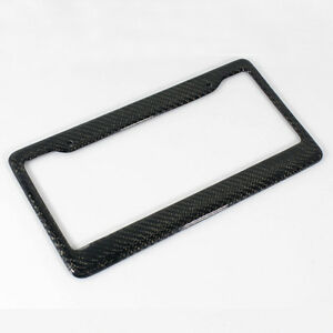 1pc Euro Real Carbon Fiber License Plate Frame Cover Front Rear