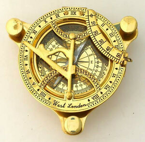 Sundial Compass 4 5 In Wooden Box Nautical Compass Maritime Navigation