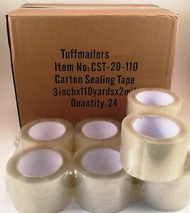 24 Rolls Carton Sealing Clear Packing shipping box Tape 2 Mil 3 X 110 Yards