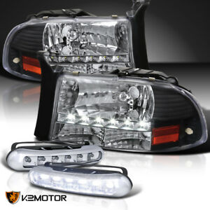 97 03 Dodge Dakota Black Led Head Lights W Turn Signal led Driving Fog Lamps
