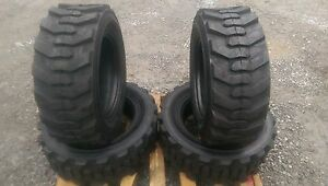 4 New 10 16 5 Skid Steer Tires With Rimguard 10x16 5 10 Ply For Bobcat Others