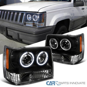 Jeep 1993 1996 Grand Cherokee Black Twin Halo Projector Headlights Lamps Pair