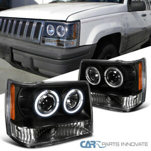 For Jeep 93 96 Grand Cherokee Black Twin Halo Projector Headlights Lamps Pair