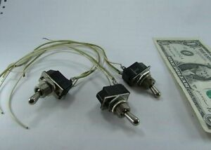 Lot 3 Cutler Hammer 3a 250v On Off Toggle Switches W leads Mounting Nuts New