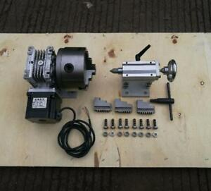 Cnc Router Rotary Axis A 4th axis 3 jaw 100mm Tailstock steel Frame 20 1