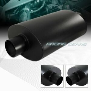 Universal No Tip 2 5 Inlet Black T304 Stainless Steel Exhaust Resonator Muffler