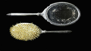 S B Saart Brothers Sterling Silver Vanity Mirror Brush Dresser Set