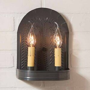 Punched Willow Double Wall Sconce In Blackened Tin By Irvin S Country Tinware