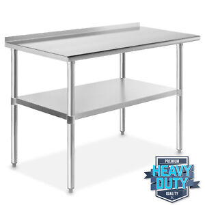 Stainless Steel 24 X 48 Nsf Kitchen Restaurant Work Prep Table With Backsplash