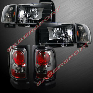Combo Set Of Euro Black Headlights Smoke Taillights For 94 01 Dodge Ram Pickup
