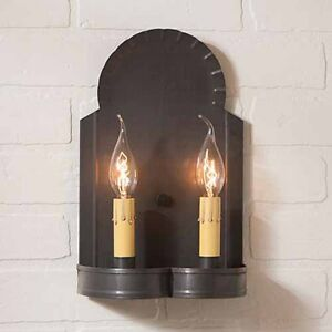 Hanover Double Wall Sconce In Blackened Tin By Irvin S Country Tinware
