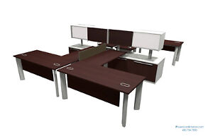 4 Person L Shaped Desk Workstation Desking Benching Systems Office Furniture