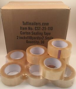 72 Rolls Carton Sealing Clear Packing shipping box Tape 2 5 Mil 2 X 110 Yards