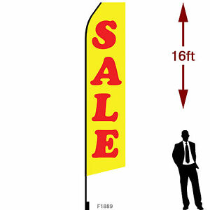 16ft Outdoor Advertising Flag With Pole Set Ground Stake sale