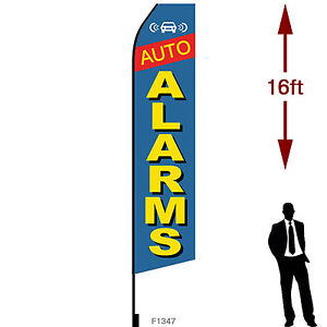 16ft Outdoor Advertising Flag With Pole Set Ground Stake auto Alarms