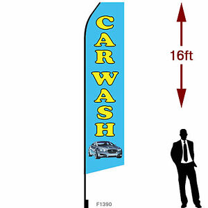 16ft Outdoor Advertising Flag With Pole Set Ground Stake car Wash