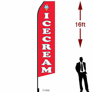 16ft Outdoor Advertising Flag With Pole Set Ground Stake ice Cream