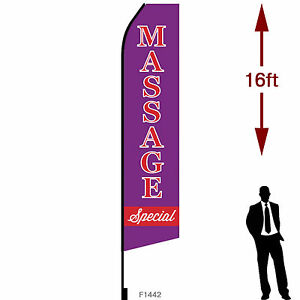 16ft Outdoor Advertising Flag With Pole Set Ground Stake massage Special