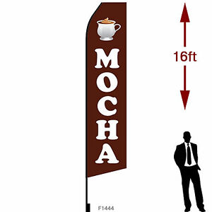 16ft Outdoor Advertising Flag With Pole Set Ground Stake mocha