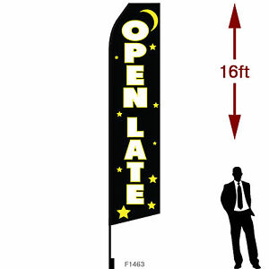 16ft Outdoor Advertising Flag With Pole Set Ground Stake open 24 Late