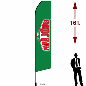 16ft Outdoor Advertising Flag With Pole Set Ground Stake papa John s Pizza
