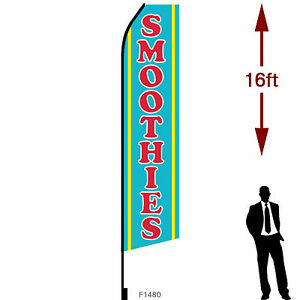 16ft Outdoor Advertising Flag With Pole Set Ground Stake smoothies