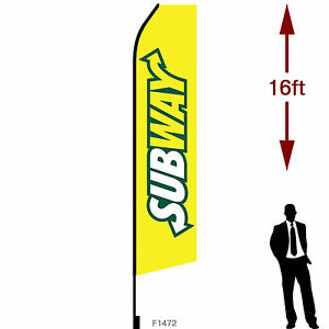 16ft Outdoor Advertising Flag With Pole Set Ground Stake subway