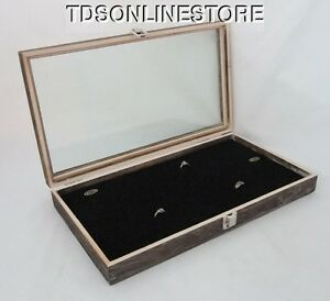 Rustic Antique Coffee Color 144 Ring Glass Top Display Case Blk Insert