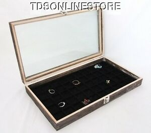 Rustic Antique Coffee Color 50 Slot Jewelry Glass Top Display Case Blk