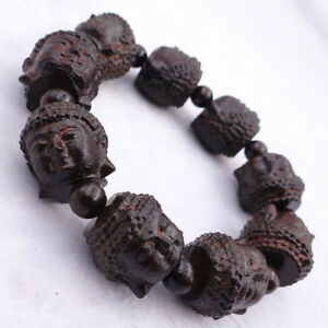 Hand Carved Wood Buddha Head Bracelet Wooden Beaded Bangle And Can Stretch