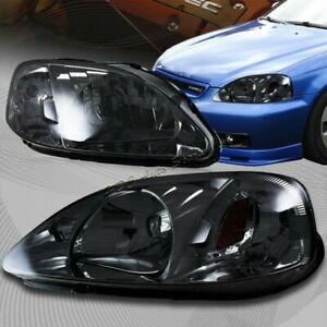 For 1999 2000 Honda Civic Chrome Housing Smoke Lens Amber Reflector Headlights