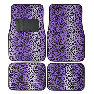 New 4pc Set Safari Purple Leopard Print Front Rear Car Truck Carpet Floor Mats