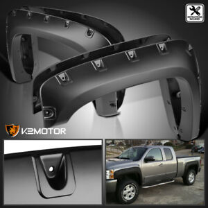 For 2007 2013 Chevy Silverado 1500 2500hd 3500hd Black Pocket Fender Flares 4pc