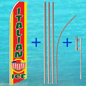 Italian Ice Flutter Flag 15 Tall Pole Mount Kit Feather Swooper Banner 3071