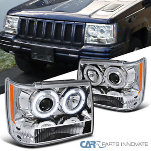 For 93 96 Jeep Grand Cherokee Clear Halo Projector Headlights Lamps Left Right