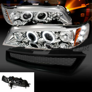 For 94 97 Honda Accord Led Halo Projector Headlights mesh T r Grille