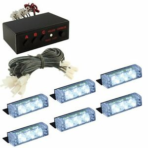 White 18 Led Emergency Vehicle Car Strobe Flash Lights Front Grille Truck White