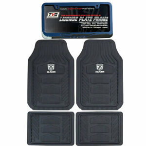New Dodge Ram Factory Logo Car Truck 2 Front All Weather Rubber Floor Mats Set