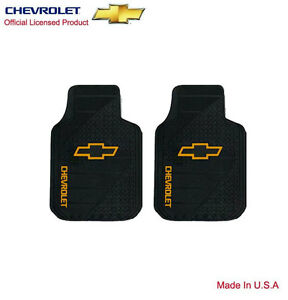 New Chevy Factory Style Logo Car Truck 2 Front Heavy Duty Rubber Floor Mats