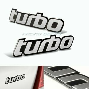 2x Mini Cooper Porsche Turbo Brush Silver Aluminum Emblem Badge Sticker Decal
