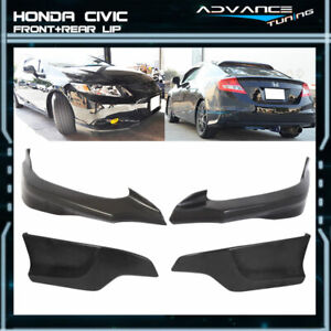 Fits 12 13 Civic 9th Gen Coupe 2dr Hfp Front Rear Bumper Lip Unpainted Pu