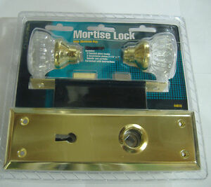 Mortise Lock With Glass Door Knobs Brass Vintage Style Skeleton Key