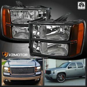 For 2007 2013 Gmc Sierra 1500 2500 3500hd Black Headlights Lamps Leftright Fits More Than One Vehicle